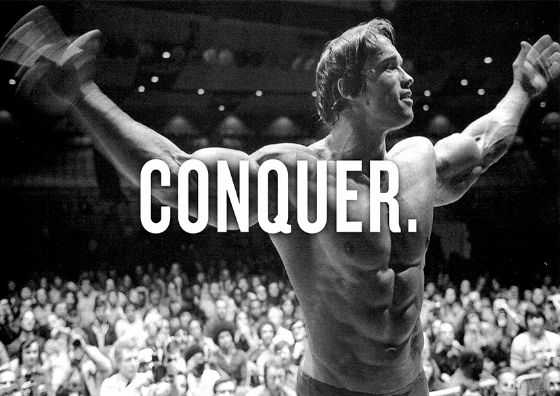 Arnold Schwarzenegger: Conquer. Bodybuilding/Muscle Intense Strength Training Black & White Print/Poster. Sizes: A4/A3/A2/A1 (002244)